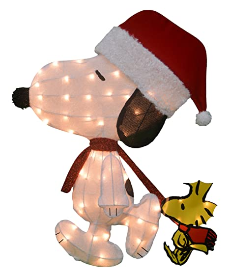 productworks 32 inch pre lit peanuts santa snoopy with woodstock christmas yard decoration - Snoopy And Woodstock Christmas