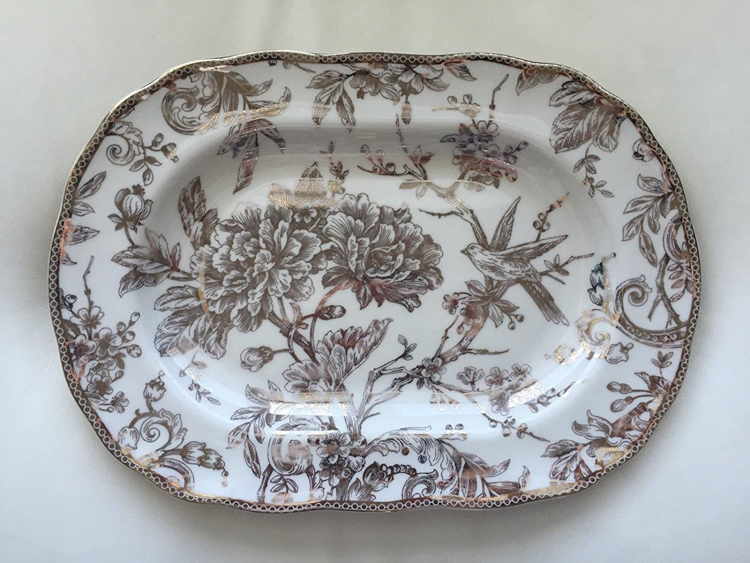Amazon Com 222 Fifth Adelaide Gold Serving Platter Platters