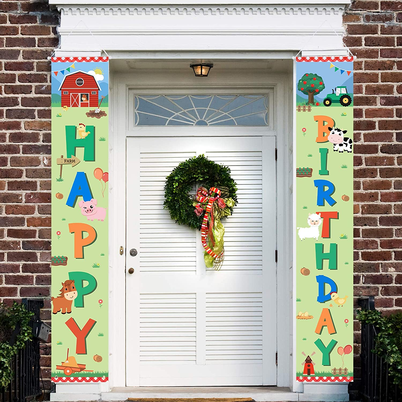 WERNNSAI Señal de cumpleaños para porche, granja, decoración para fiestas de cumpleaños, para niños, niñas, animales de granja, decoración para interior y exterior