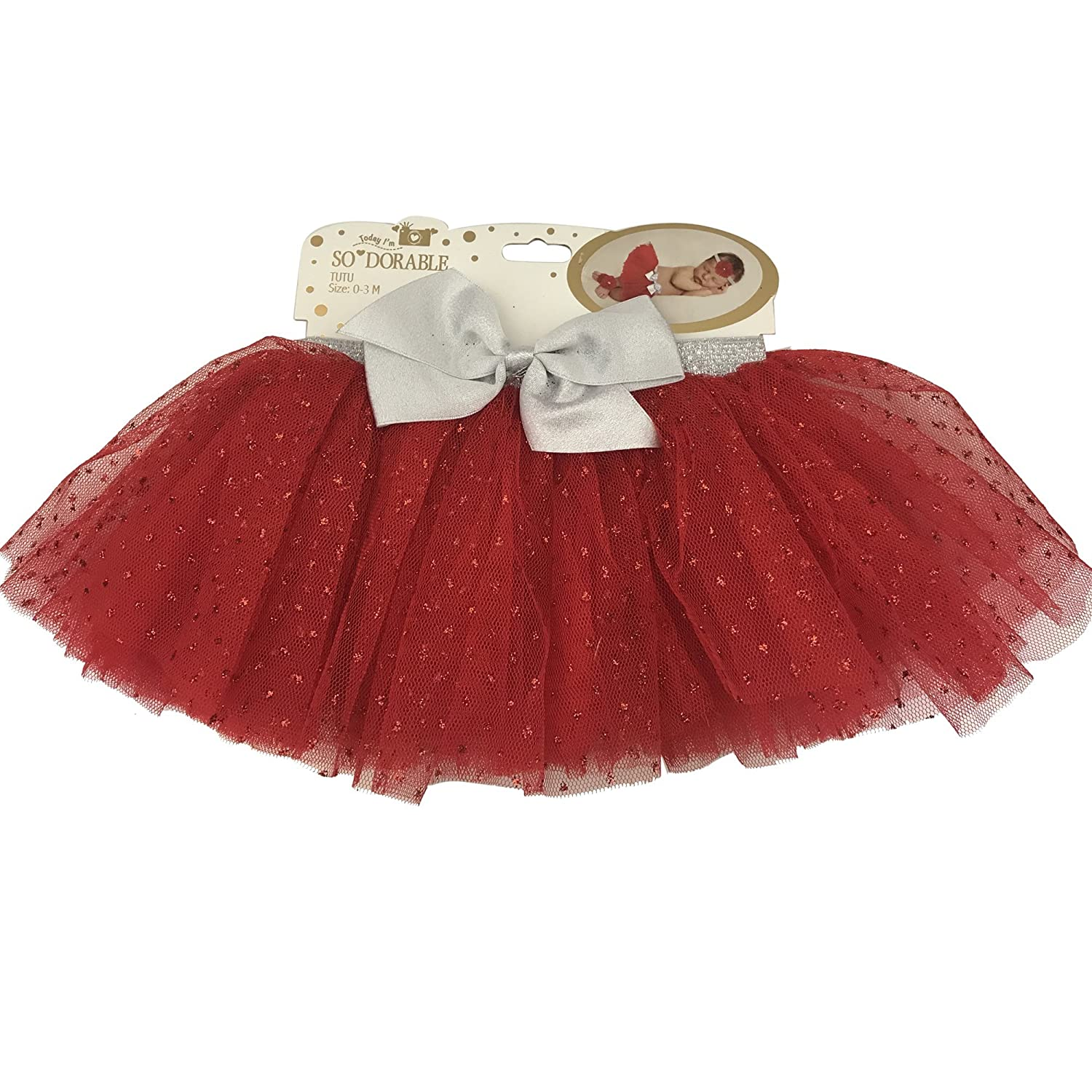 So Dorable Tutu SoDorable Red Baby Size 0-3 Months Sprakle With Gray Bow
