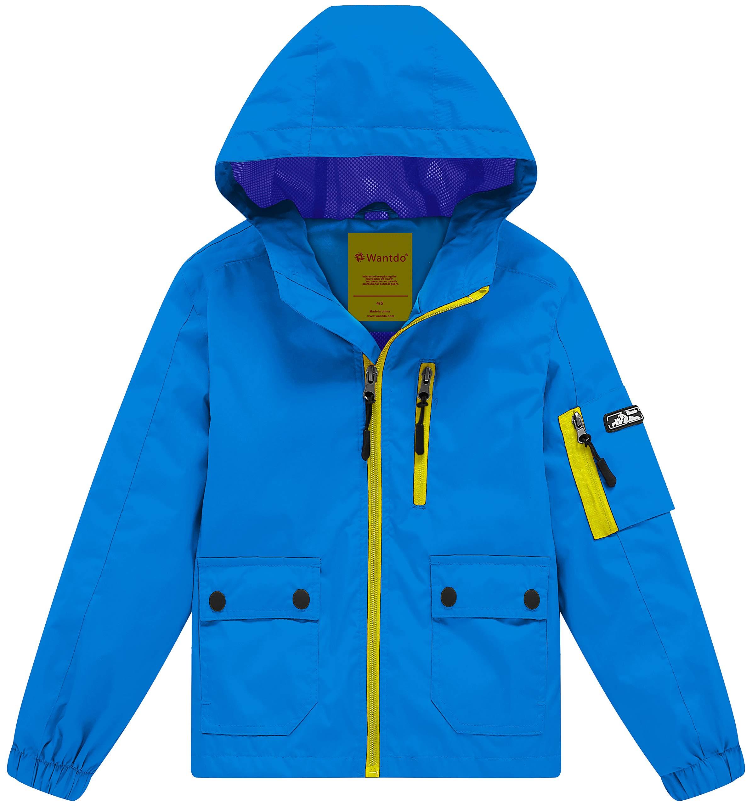 Wantdo Boy's Lightweight Hooded Rain Jacket Waterproof Outwear Windbreaker with Zipper(Blue, 10/12)