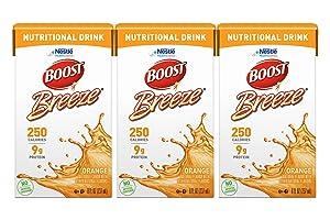 Boost Breeze Nutritional Drink, Orange - No Artificial Sweeteners - 8 FL OZ (Pack of 3)