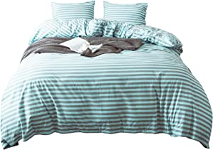 3PC Cotton Duvet Cover Set. 100% Cotton Percale. Moder Stripe & Toil Floral Print Reversible Design. PRE-Washed Ultra Soft. Easy Care. (Turquoise, Queen)