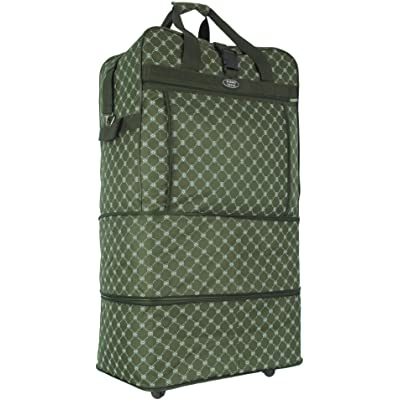 "36"" Expandable Rolling Duffel Wheeled Spinner Suitcase Luggage (Green Printing, 36"")"