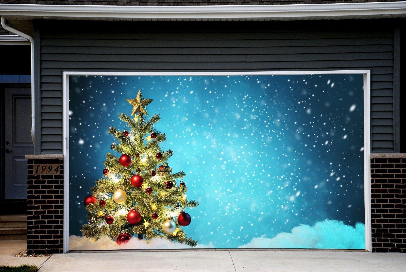 Christmas Tree Garage Door Covers Banners Outdoor Full Color House Billboard for 2 Car Garage Door Holiday REUSABLE CHRISTMAS DECOR 3D Effect Art Murals size 82x188 inches DAV47