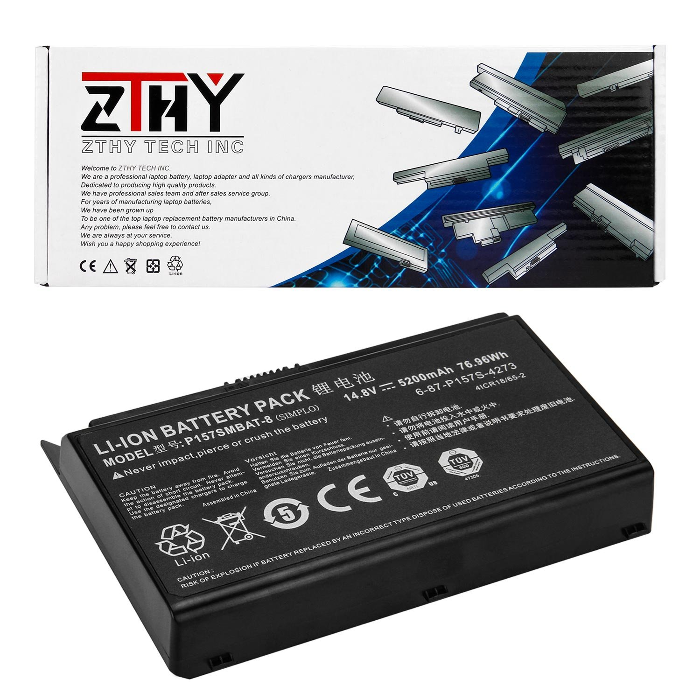 ZTHY P157SMBAT-8 Battery for Clevo Terransforce P157S P157SM Hasee K780S-i7 K780E Series 6-87-P157S-4271 4ICR18/65-2 5200mAh by ZTHY