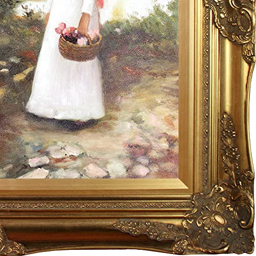 overstockArt WA3151-FR-446G20X24 Gathering Summer Flowers in a Devonshire Garden by John William Waterhouse Framed Hand Painted Oil on Canvas, Not Applicable, Victorian Frame, 32 x 28