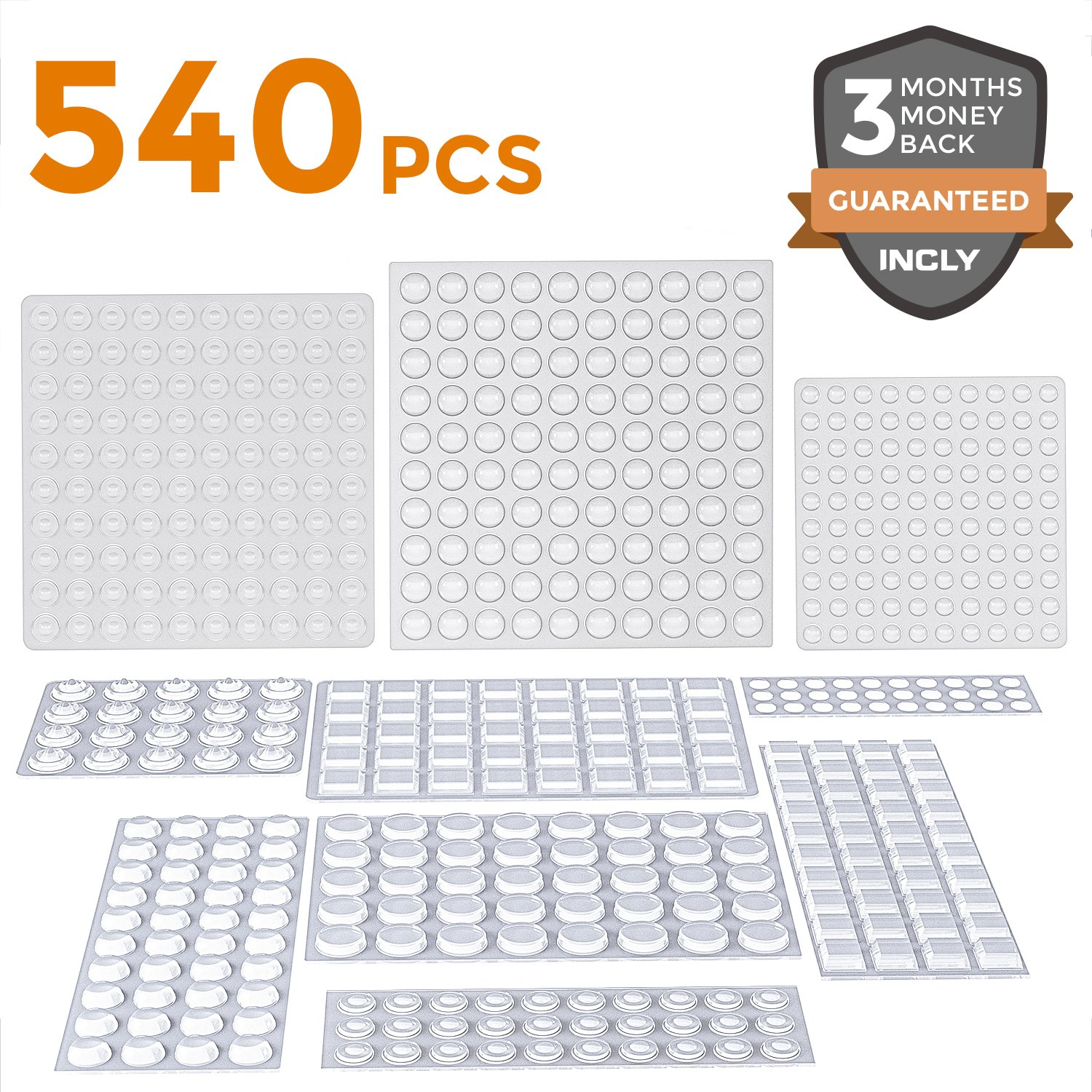 540 Pack Incly Self Adhesive Clear Bumpers Pads,Silicone Cabinet Pads Noise Dampening Rubber Bumpers 8 Size for Home Kitchen Door Drawer Furniture