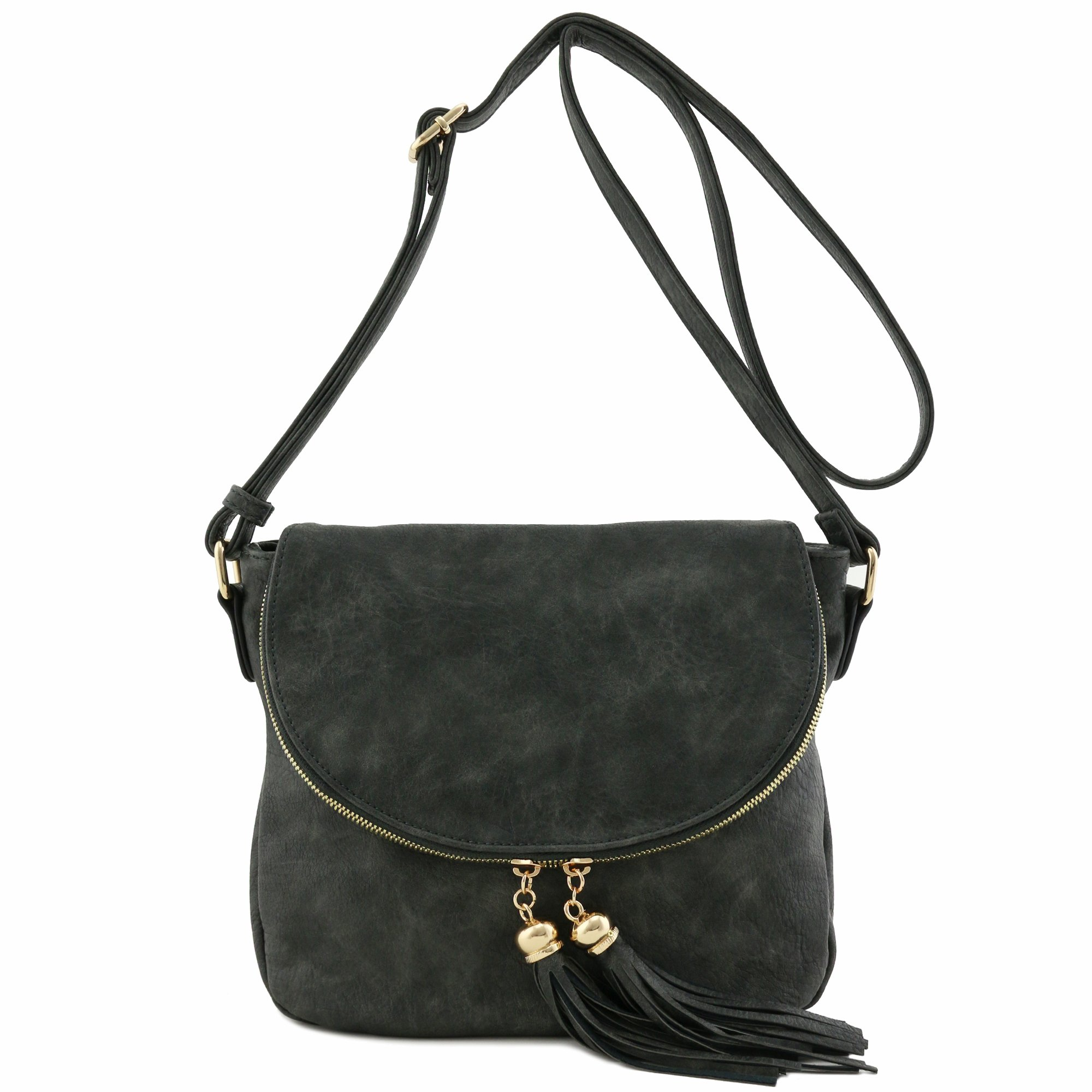 Tassel Accent Crossbody Bag with Flap Top (Charcoal Grey)