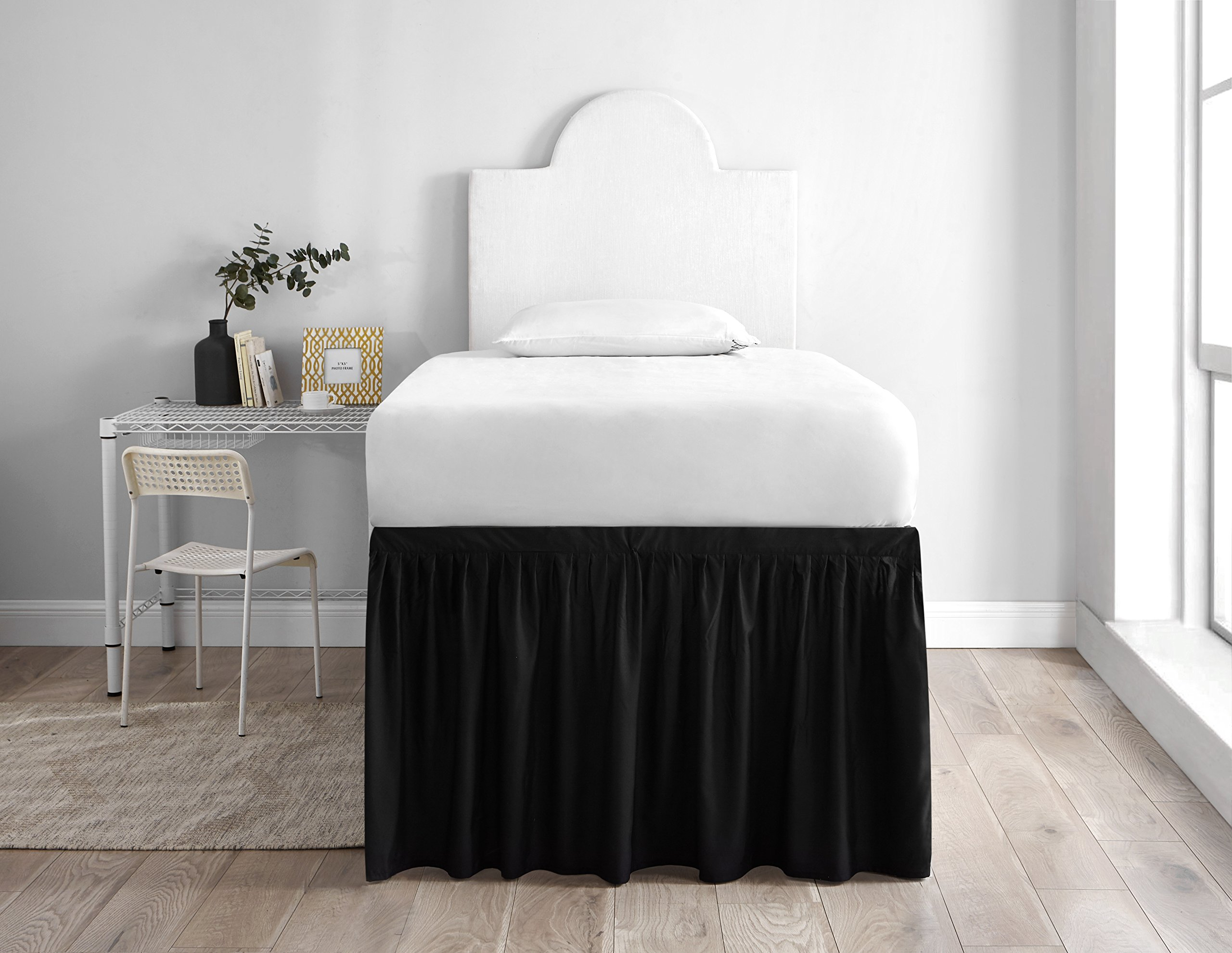 Dorm Sized Bed Skirt Panel with Ties (1 Panel) - Black by DormCo (Image #1)