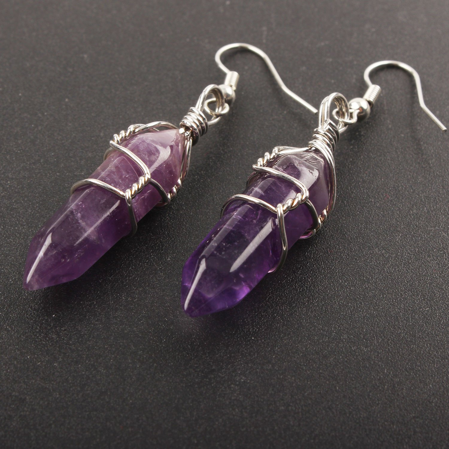 Real Natural Quartz Stone Healing Point Crystal Chakra Dangle Earrings Valentines day Mothers day Gift