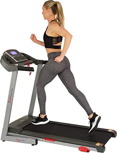 Sunny Health Fitness Electric Folding Treadmill with Digital Monitor, Pulse Monitor, USB Charging, Automatic Manual Incline and Tablet Holder, 220 LB Max Weight
