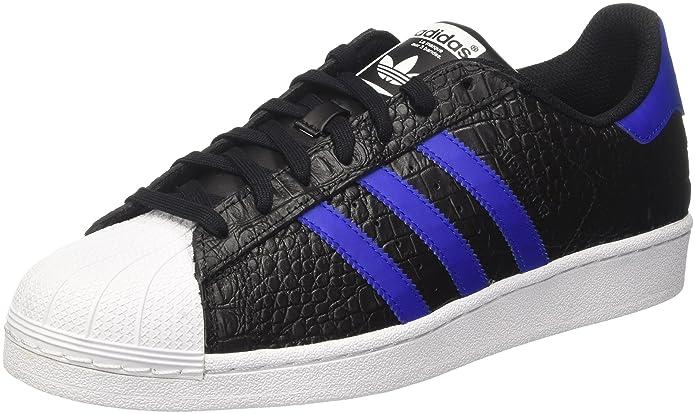 adidas Superstar Schuhe Herren Low-Top Schwarz (Core Black) mit blauen (Bold Blue) Streifen