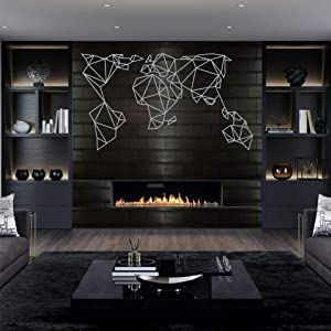 "Metal Wall Art, Silver Grey Geometric Metal World Map, Metal Wall Decor, Living Room Decoration, Wall Hangings, (40""W x 23""H / 100x58cm)"