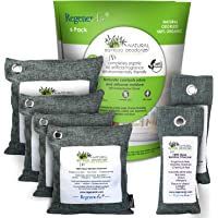 RegenerAir Natural Air Purifier Deodorizer Bags 6 Pack 100% Activated Bamboo Charcoal for Kitchens Bedrooms Bathrooms Toilets Cars Pet Areas & Shoes