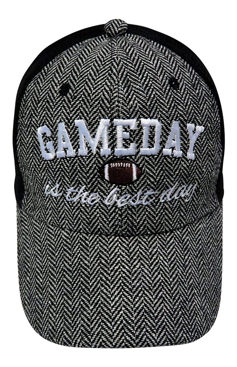 640457deb0053 Embroidered Game Day is The Best Day Herringbone Trucker Cap Hat Football  at Amazon Women s Clothing store