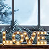 Battery Operated LED Wooden Love Sign Light by Lights4fun