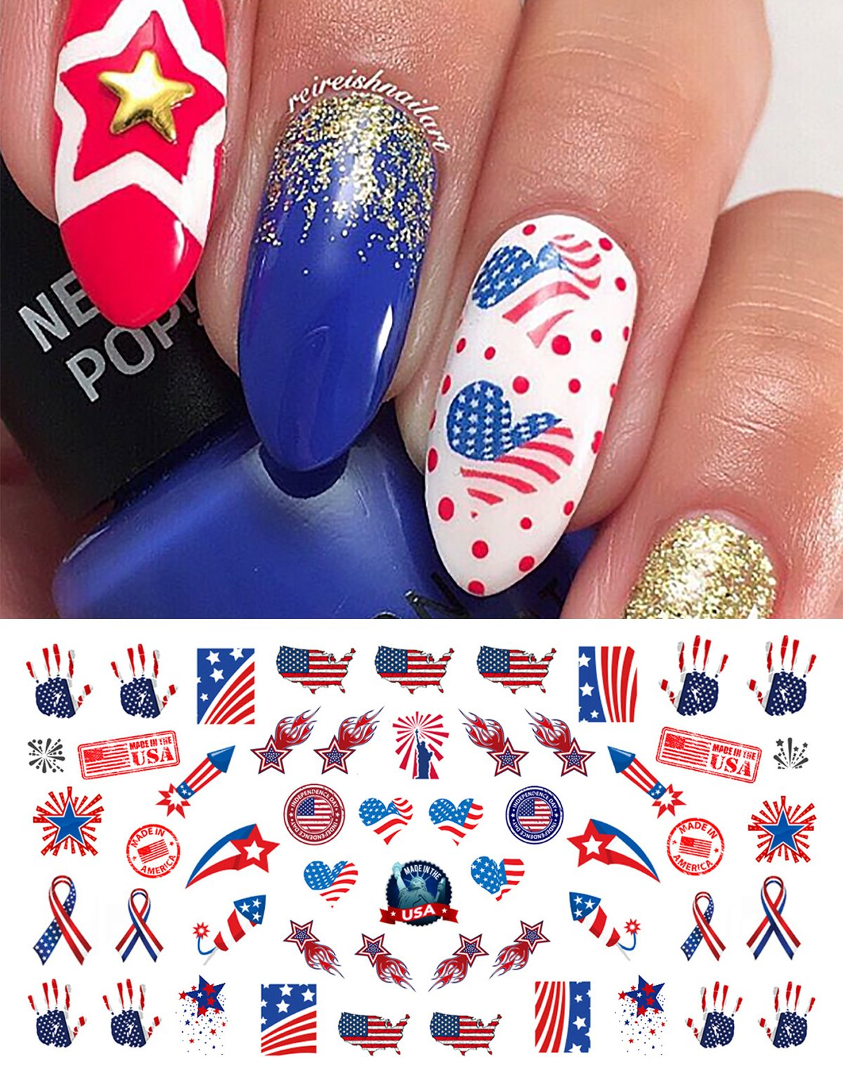 Amazon.com: 4th of July Water Slide Nail Art Decals - Salon Quality ...