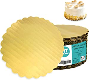 """[20 Pack] 6"""" Gold Corrugated Cake Board - Laminated Circle Scalloped Cardboard, Round Base, Pizza, Pie, Desserts and Pastries Food Trays, Grease Proof and Moisture Resistant"""