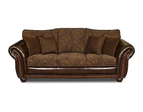 Amazon.com: Simmons Vintage Leather/Tobbaco Fabric Queen ...