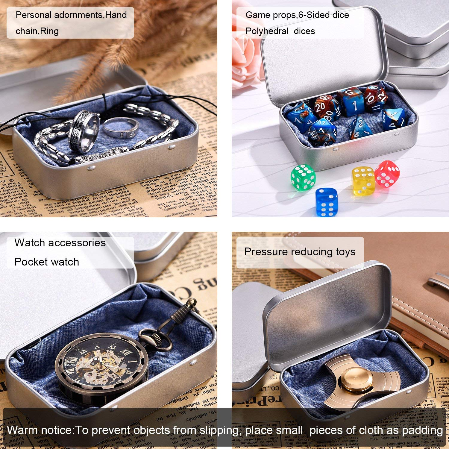Home Organizer 12 Pack 3.54 by 2.36 by 0.78 Inch Silver Metal Rectangular Empty Hinged Tins Box Containers Mini Portable Box Small Storage Kit