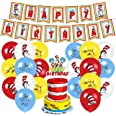 Dr Seuss birthday party supplies , thing 1 and thing 2 party decorations set with a happy birthday banner, cake topper, ballo