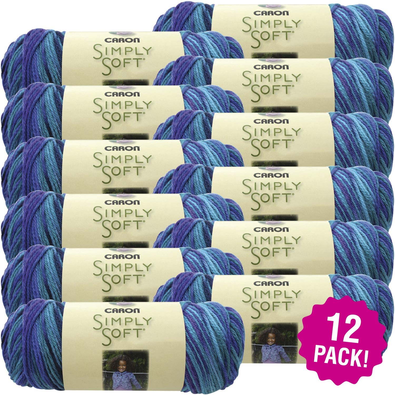 Caron 98064 Simply Soft Paints Yarn-Oceana, Multipack of 12, Pack