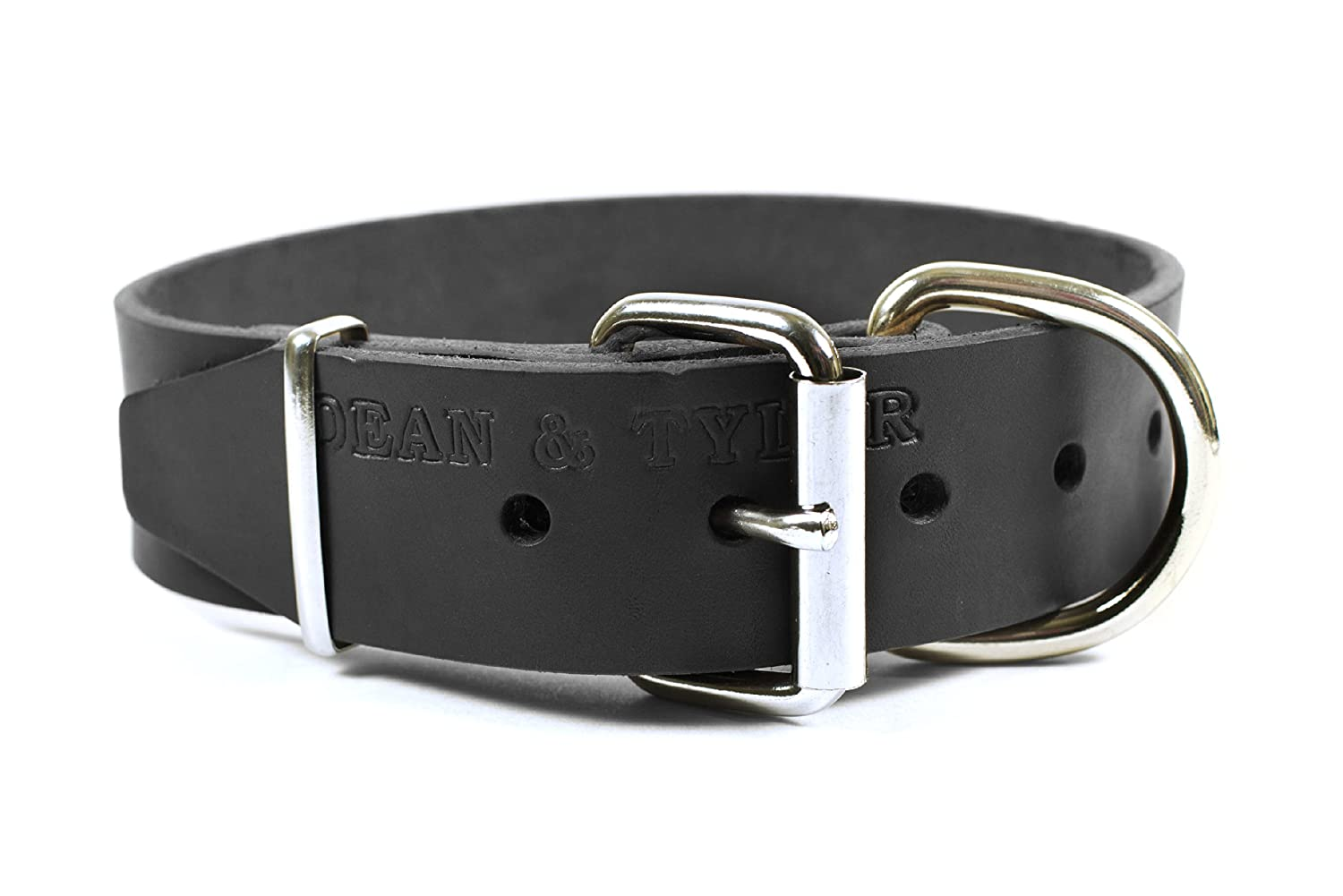 Dean & Tyler B and B  Basic Leather Dog Collar with Strong Nickel Hardware, Black, Size 26-Inch by 2-Inch Fits Neck 24-Inch to 28-Inch