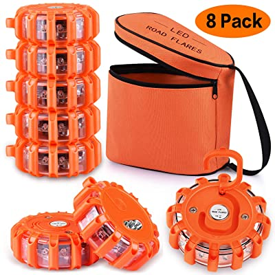 AK [8 Pack] LED Road Flares Safety Flashing Warning Light Roadside Emergency Disc Beacon Kit for Vehicles Boats with Magnetic Base & Hook, Premium Storage Bag (Batteries Not Included) (8): Automotive