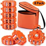 AK [8 Pack] LED Road Flares Safety Flashing Warning Light Roadside Emergency Disc Beacon Kit for Vehicles Boats with…