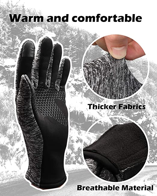 Rungear Winter Gloves,-20℃ Cold Proof Thicken Thermal Warm Touchscreen Cold Weather Gloves for Men Women Smartphone Texting Cycling Riding Running Skiing Outdoor Sports