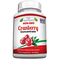 Pure Healthland Triple Strength Cranberry Concentrate Supplement Pills For Urinary Tract Infection Uti. Promote Kidney Bladder Health, Non-Gmo 1 Bottle Cranberry Softgel Us