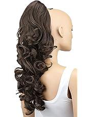 PRETTYSHOP Voluminosa corrugado peluca peluca trenza cola de caballo Cola de caballo fibra sintética 60cm marrón medioH53