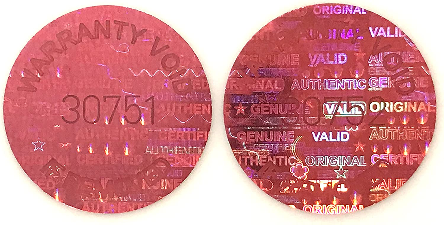 "1,000 Red Round Hologram Tamper Evident Security Labels/Stickers Tinted Covert Laser Serialized: Unique - Size: 0.625"" Diameter (16mm) 81TrdRGHW2LSL1500_"