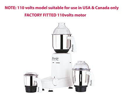 Preethi Eco Plus 110 Volts Mixer Grinder (For Use In Usa & Canada  Only),White