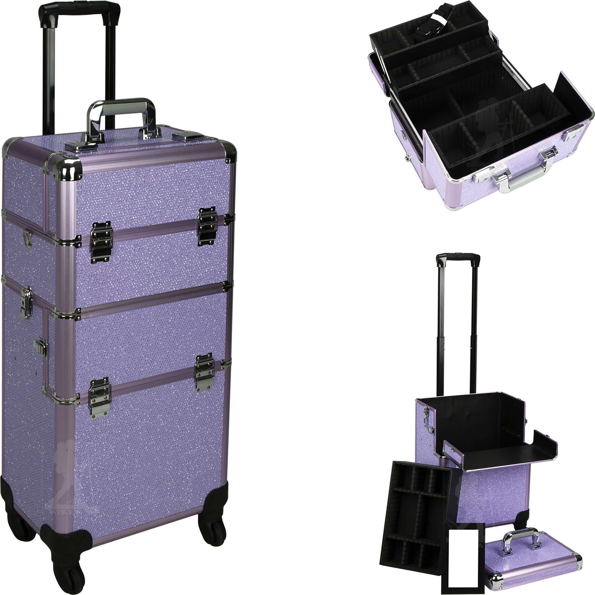 HIKER Makeup Rolling Case HK6501 2 in 1 Hair Stylist Organizer, 3 Slide and 1 Removable Tray, 4 Wheel Spinner, Locking with Mirror, Extra Lid and Shoulder Strap, Purple Krystal
