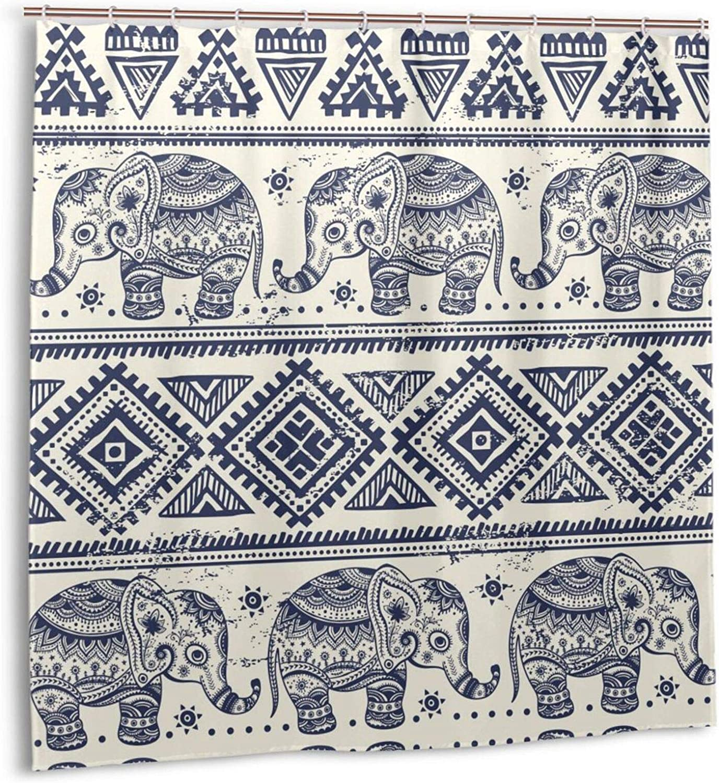 Elephant Shower Curtain Ethnic Style Bohemian Vintage Pattern Creative Animal Blue Geometric Stripes with Sun Shower Curtain for Bathroom Waterproof Boho Shower Curtain