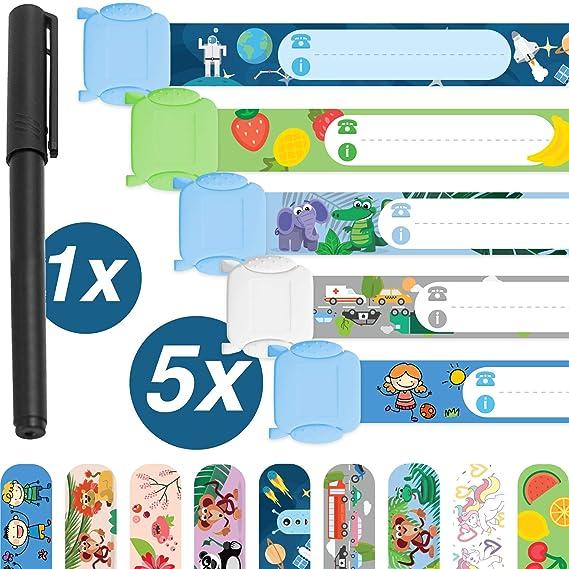 Pulsera de emergencia para niños · 5 piezas + bolígrafo · pulsera de seguridad · Resistente al agua · reutilizable · Pulsera SOS · niños