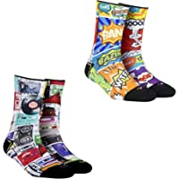 Dynamocks Comic Crash & Cassettes (Pack of 2 pairs) Men & Women Crew Length Socks