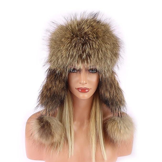 moda mejor valorada calidad primero 100% autentico Mujer pelo-Gorro de Raccoon mapache de aviador sombrero de ...