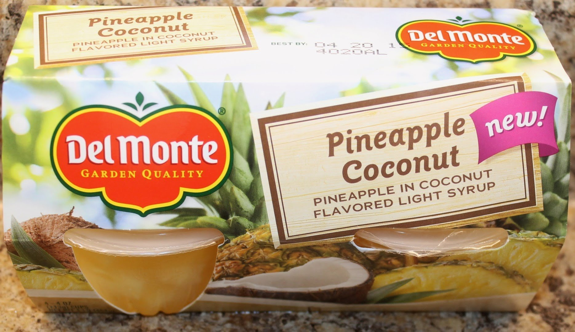 Del Monte Pineapple Coconut Fruit Cups (4oz, 4 Count) (Pack of 6)