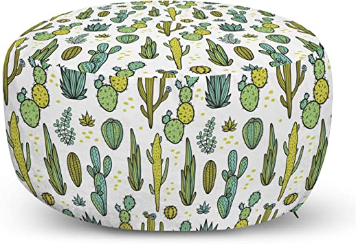 Ambesonne Cactus Ottoman Pouf Hand Draw Foliage Pattern Botanical Inspired Floral Tropical Elements Decorative Soft Foot Rest With Removable Cover Living Room And Bedroom Reseda Green Furniture Decor