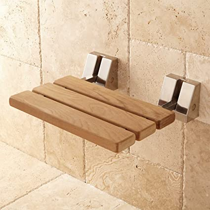 Wall Mount Folding Teak Shower Bench Seat