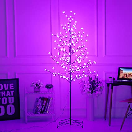 Amazon Bolylight LED Cherry Blossom Tree 6ft 208L Indoor And Outdoor Decoration Lighted For Bedroom Party Wedding Office Home Light Purple