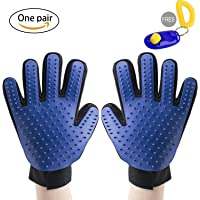 SENQIAO Pet Grooming Gloves,Gentle Deshedding Brush Glove,Pet Massage and Bathing Brush Comb,for Removing Pet Shedding Hair with Pet Clicker 2 in 1