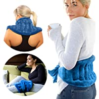 Extra Large Microwavable Heat Wrap - with Extra Long Straps for Lower Back Pain Relief, Heated Neck and Shoulder Wrap…