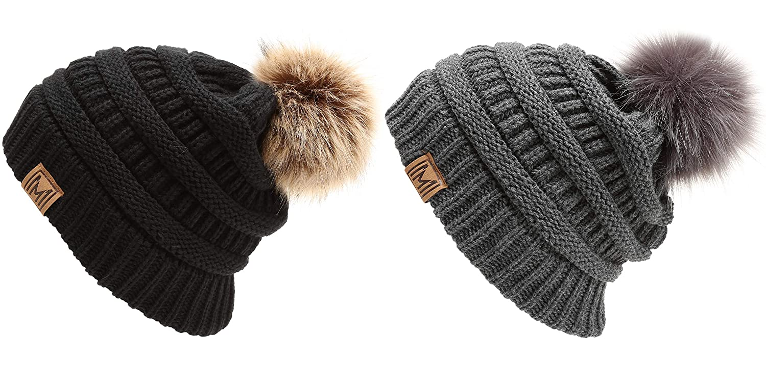 cd3455f8baab2 MIRMARU Women s Soft Stretch Cable Knit Warm Skully Faux Fur Pom Pom Beanie  Hats (Black   Charcoal) at Amazon Women s Clothing store
