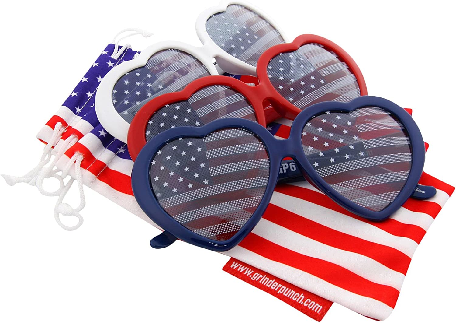 grinderPUNCH Women's Emma Stripes Heart American Flags Sunglasses