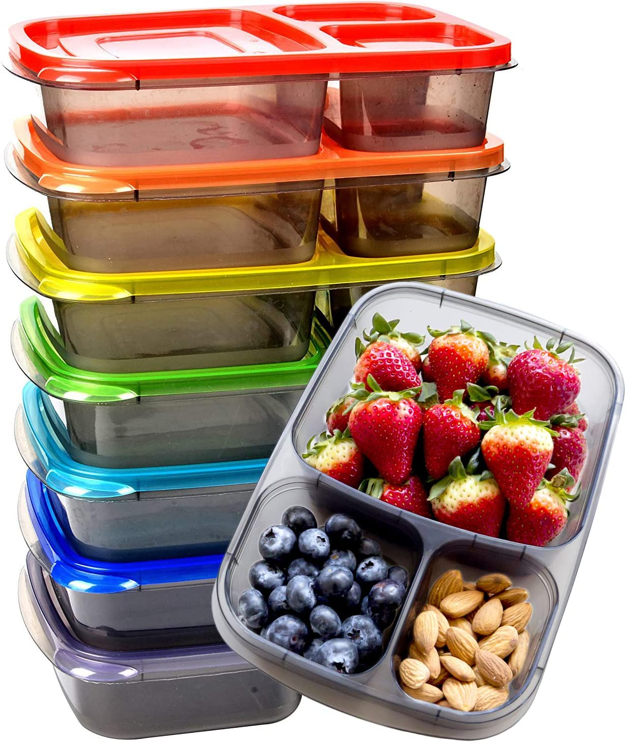Youngever 7 Pack Bento Lunch Box, Meal Prep Containers, Reusable 3 Compartment Plastic Divided Food Storage Container Boxes
