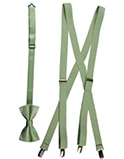 Matching Adjustable Suspender and Bow Tie Sets in Toddler, Boys, Youth, and Adult Sizes